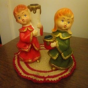 Vintage Pair of Xmas Candle Holders